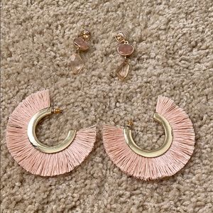 Pale pink and gold earrings banana